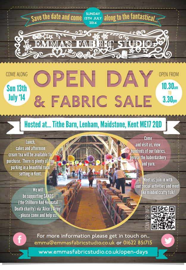Emmas Fabric Studio Open Day Poster Design